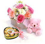 Send New Year Gifts with Mixed Flower Bouquet with Teddy and a Imported Heart Shape Chocolate Box