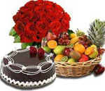 Send New Year Gifts with 20 Red Roses in vase and 1 Kg chocolate Cake and 3 Kgs Fruits