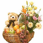 Send New Year Gifts with Mixed Flower Basket with Teddy and 2 Kg Fruits,.