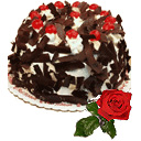 Eggless Black Forest with single rose on Mothers Day