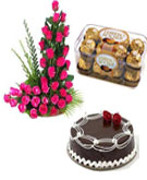 Combo Gifts contains 24 Pink Roses in a Basket with 1 Kg Chocolate Cake and Ferrero Rocher Chocolate Box (16 Pcs)