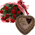 Valentines Day Gift with 12 Red Roses Bouquet with 1Kg. Chocolate Cake to Chennai Delivery