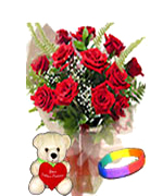 Valentines Day Gifts with 12 Red Roses Bouquet  with Teddy and Love Band to Chennai Delivery