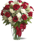 Valentines Gifts for Chennai delivery with Red and white Roses in Vase