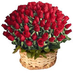 Send Flowers with 100 Red Rose Basket to chennai