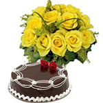 Send New Year gifts with 12 Yellow Roses Bouquet with 1Kg chocolate cake