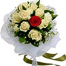 11 White 1 Red roses Flowers Bouquet to Chennai Delivery