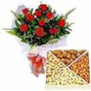 Combo Gifts with 12 Red Roses with Assorted Dry Fruits to Chennai Delivery