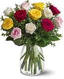 18 Mixed Roses Flowers in Vase For Chennai Delivery