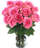 Valentines Day Gift with 12 Pink Roses in a Vase to Chennai Delivery