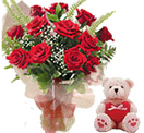 Birthday Gifts with 12 Red Roses Bunch with a Teddy to Chennai Delivery