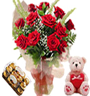 New born Gifts with 12 Red Roses teddy 16Pcs. Ferrero Rocher Box to Chennai Delivery