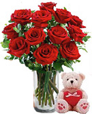 Valentines Day Gift with 12 Red Roses Vase with Teddy to Chennai Delivery