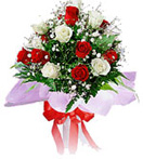 Id Ul Fitri with 12 Red n White Roses Bouquet to Chennai Delivery