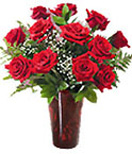 12 Red Roses Flowers in a Vase to Chennai Delivery