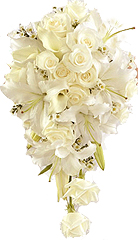 Bridal Bouquet made of White roses and white lilies for Chennai delivery.