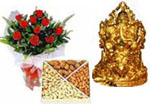 Send New Year Gifts with 12 Red Rose Bouquet  and 1 Kg Dry Fruits and Golden plated Ganesha