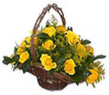 18 Yellow Roses Flowers Basket For Chennai Delivery
