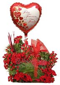 send valentine gifts with 250 red roses arrangement with i love u balloon