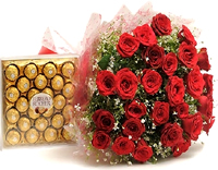 24Pcs.Ferrero Rocher with 24Red Roses Hand Bouquet