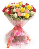 Send 25 Mixed Roses Flower Bouquet for Chennai Delivery.