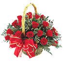 Congratulations with 24 Red Rose Flower Basket to Chennai Delivery