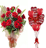 Valentines Day Gifts with 12 Red Roses  & 10 Heart Balloons to Chennai Delivery