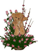 Valentines Day Gift with Teddy in a 36 Pink rose Basket to Chennai Delivery