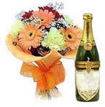 Send New Year Gifts with  Australian Champagne with 12 Mixed Gerberas Bouquet