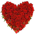 Valentines Day Gift with 50 Red Roses Heart Shape Basket to Chennai Delivery