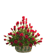 Anniversary Gifts with Flower Basket of 50 Roses to Chennai Delivery