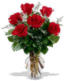 6 Red Roses Flowers in a Vase to Chennai Delivery