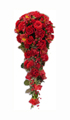 Bridal Bouquet in Red Roses and Red Carnations for Chennai delivery.