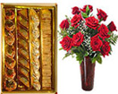 Diwali Gifts with 12 Red Roses in Vase with 1/2 Kg. Assorted Sweets Box to Chennai Delivery