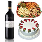 Send New Year Gifts with  Australian Wine 750 ml and 1 Kg Drr Fruits and 1 Kg Vanilla Cake
