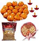 Diwali Gifts with 1/2Kg. Moti Laddu, Haldiram Bhujia, 1/2 Kg. Mixed Dry Fruits to Chennai Delivery