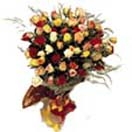 Thank you with 50 Mixed Roses Bouquet to Chennai Delivery