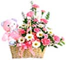 Mixed Pink flowers with Teddy to Chennai Delivery