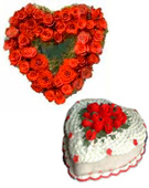 send valentine day gifts with 50 Red Roses in Heart Shape Arrangement with 1 Kg Heart Shape Vanilla Cake to chennai delivery.