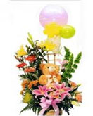 Mixed Flowers Basket with Teddy to Chennai Delivery