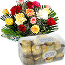Corporate Gifts with Mixed Flowers Bouquet with Ferrero Rocher Chocolate to Chennai Delivery