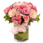 Pink Rose Gerbera Flowers in a Vase to Chennai Delivery