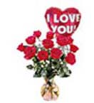 12 Red Roses Flowers in Vase & Balloon to Chennai Delivery