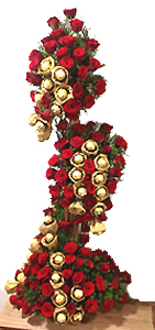 Tall arrangement with Red Roses and Ferrero Rocher Chocolates