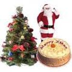 Christmas Combo Gifts with Xmas Tree, 1Kg Chocolate Cake and Santa Claus Doll.