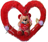 Valentines Gift to Chennai with Teddy in a Heart ring