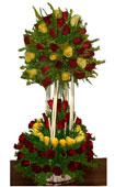 Valentines Day Gift with 4ft.Two step 151 Roses[ Red & Yellow]Round Arrangement to Chennai Delivery