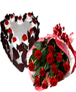 Valentine Gifts to Chennai Delivery with Red roses and Black forest Cake
