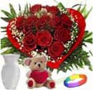 Combo Gifts with 12 Red Roses Heart Shape  with Teddy ,Vase and Love Band to Chennai Delivery