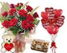 Combo Gifts with 12 Red Roses teddy FerreroRocher & 6 Heart Balloons to Chennai Delivery